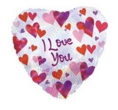 I Love You (with Hearts) Mylar Balloon