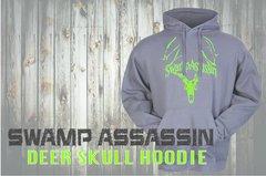 Swamp Assassin Deer Skull Hoodie Grey/Lime