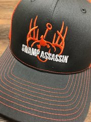 NEW CHARCOAL AND ORANGE/WHITE SWAMP ASSASSIN SNAP BACK