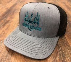 NEW CHARCOAL/BLACK WITH TEAL LOGO SNAPBACK
