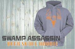 Swamp Assassin Deer Skull Hoodie Grey/Orange