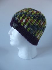 Beanie- Light/Dark Green mix and Plum