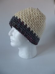 Beanie- Cream and Pink/Denim mix