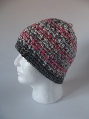 Beanie- Pink, Grey and White mix and Grey