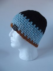 Beanie- Black, Light Blue and Saffron
