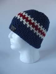 Beanie- Navy, Cream and Red