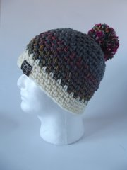 Toque - Grey, Pink/Teal mix and Cream