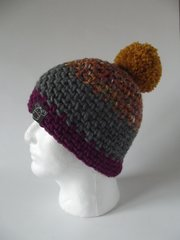 Toque -Pink/Mustard/Grey mix, Grey and Fuchsia