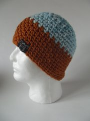 Beanie- Light Blue and Saffron