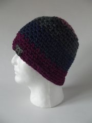 Beanie- Rose, Dark Grey, Navy and Fuchsia