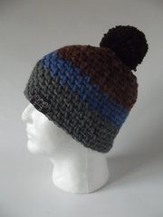 Toque- Brown, Royal Blue and Grey