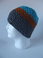 Beanie- Turquoise, Saffron and Grey