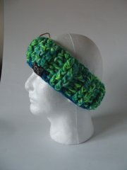 Reflective** Headband - Bright Green/Blue mix with Blue trim