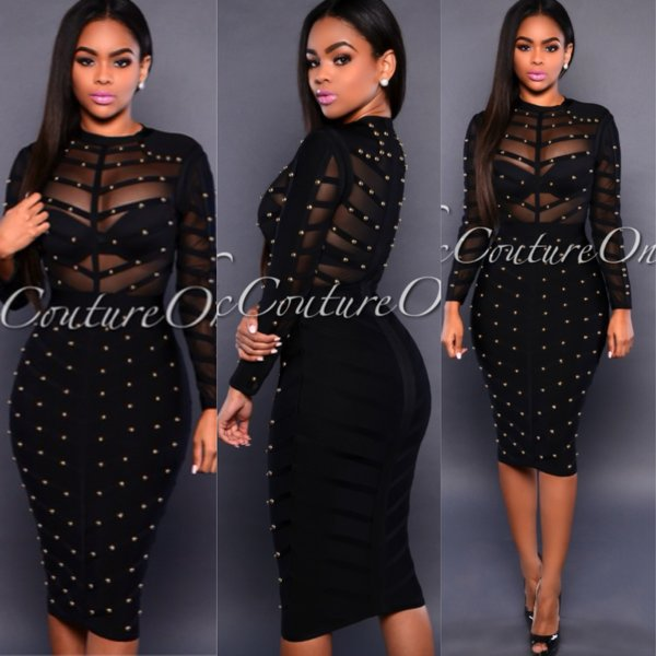 Black studded mesh dress | Nalu Boutique