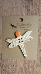 Orange Dragonfly Button