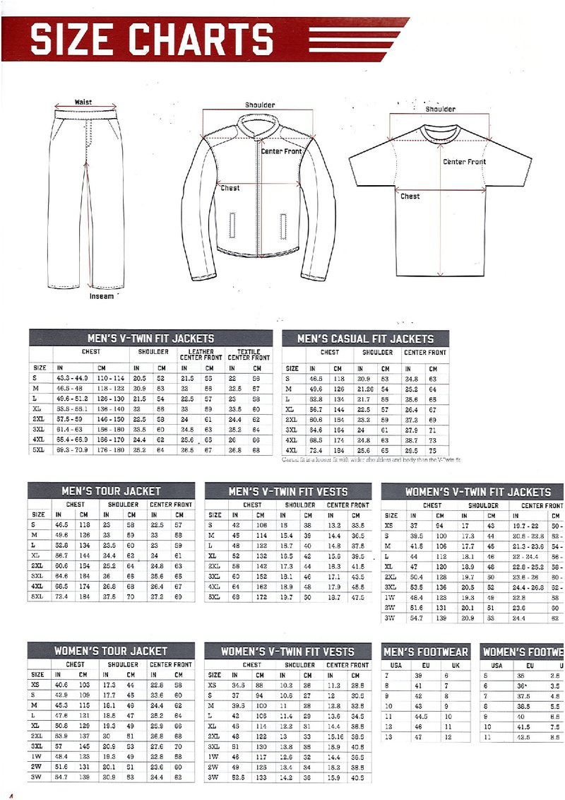 Size Chart 1 Indian Motorcycle Charlotte Online Store