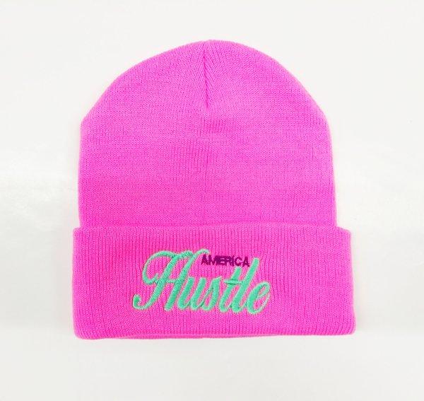 Hustle Hard Beanie Pink&mint