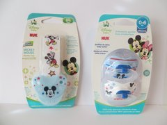 Nuk Orthodontic Pacifiers 0-6 Mo Boy Disney Mickey Mouse Blue + Holder Clip