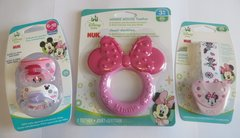 Nuk Orthodontic Pacifiers 6-18 Mo Disney Minnie Mouse Pink + Minnie Pacifier Clip Holder + Teether Girl