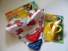 Baby Teething Bibs + Banana Teether/Toothbrush Combo Gift by Nuby - Choose Colors