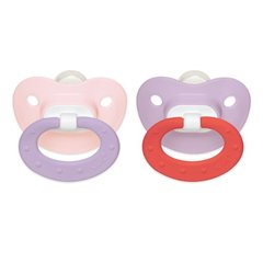 Nuk Pacifiers 0-6 mo Orthodontic Pacifiers Girl Pink + Lilac Juicy Puller Silicone BPA Free