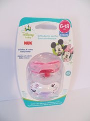Nuk Orthodontic Pacifiers 6-18 Mo Disney Minnie Mouse Pink Girl
