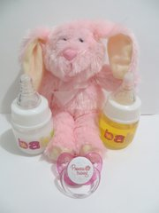 2 Reborn DOLL Bottles Fake Milk + Fake Juice BABY Pink 2oz + Princess in Training Pacifier w Putty + Pink Bunny Prop SET