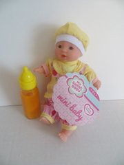 Baby Doll 1 Mini Toysmith Baby Doll Caucasian (Outfits will Vary) Plus Disappearing Juice Baby Doll Bottle Ages 3yrs +