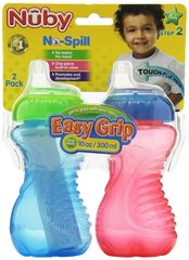 Nuby Sippy Gripper Cups 10oz Easy Grip 2 Pack BOY 6mo+ Step 2