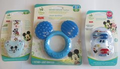 Nuk Orthodontic Pacifiers 6-18 Mo Disney Mickey Mouse Blue Boy + Holder Clip + Teether