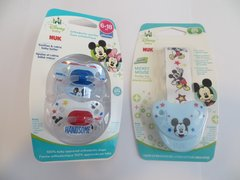 Nuk Orthodontic Pacifiers 6-18 Mo Disney Mickey Mouse Blue Boy + Holder Clip