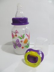 Reborn BABY DOLL Bottle Fake Milk Purple Lid Butterflies 5oz + Pacifier Prop Sealed Nipple Tip Girl
