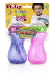 Nuby Sippy Gripper Cups 10oz Easy Grip 2 Pack Girl 6mo+ Step 2