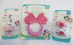 Nuk Orthodontic Pacifiers 0-6 Mo Disney Minnie Mouse Pink + Minnie Pacifier Clip Holder + Teether Girl