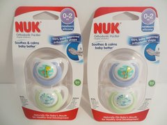 4 Nuk Newborn Orthodontic Pacifiers Boy 0-2 Mo Blue Boy Monkey + Giraffe Design