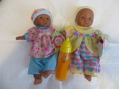 Baby Dolls 2 Mini Toysmith Baby Dolls African American (Outfits will Vary) Plus Disappearing Juice Baby Doll Bottle Ages 3yrs +