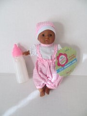 Baby Doll 1 Mini Toysmith Baby Doll African American (Outfits will Vary) Plus Disappearing Milk Baby Doll Bottle Ages 3yrs +
