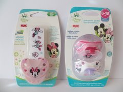 Nuk Orthodontic Pacifiers 6-18 Mo Disney Minnie Mouse Pink + Minnie Pacifier Clip Holder Girl