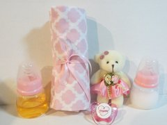 2 Reborn BABY DOLL Bottles Fake Milk Fake Juice Pink 2oz Prop No Hole Nipple SET