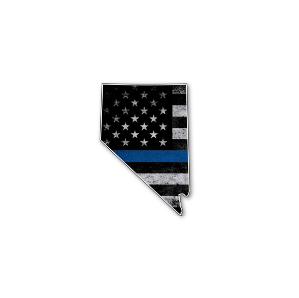 Nevada Thin Blue Line State Shaped Subdued Flag Vinyl