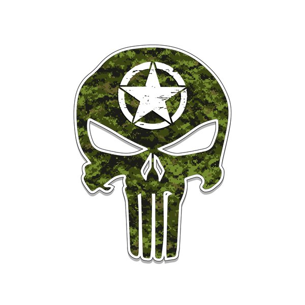 US Army Punisher Skull Star Vinyl Decal Car Truck Laptop sticker Veteran  Troop