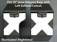 """RK-529-LX10:  Reflective """"X-Pattern"""" in your choice of Red or Silver Reflective.  Fits Jesse 10"""" Odyssey Saddlebags with Left-Bag Exhaust Cutout."""