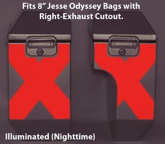 """RK-528-RX8:  Reflective """"X-Pattern"""" in your choice of Red or Silver Reflective.  Fits Jesse 8"""" Odyssey Saddlebags with Right-Bag Exhaust Cutout."""
