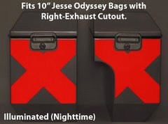 """RK-529-RX10: Reflective """"X-Pattern"""" in your choice of Red or Silver Reflective. Fits Jesse 10"""" Odyssey Saddlebags with Right-Bag Exhaust Cutout."""