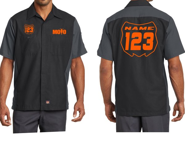 moto mechanic work shirts with custom name number little