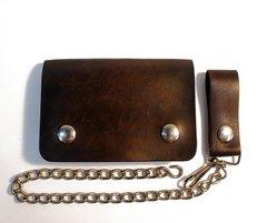 Short brown biker wallet