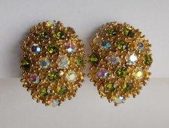 Vintage Aurora Borealis / Peridot Green Rhinestone Goldtone Clip Earrings