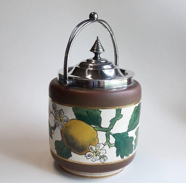 Vintage Earthenware Biscuit Barrel Jar Handpainted Lemon