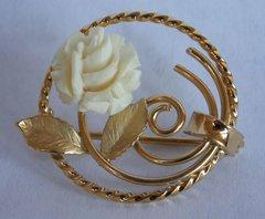 Vintage Karen Lynne Designer 14K gold Carved Rose Flower Pin/Brooch