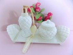 Avon White Ivory Quilted Perfume Atomizer, Tray, Dresser Jar 3 piece